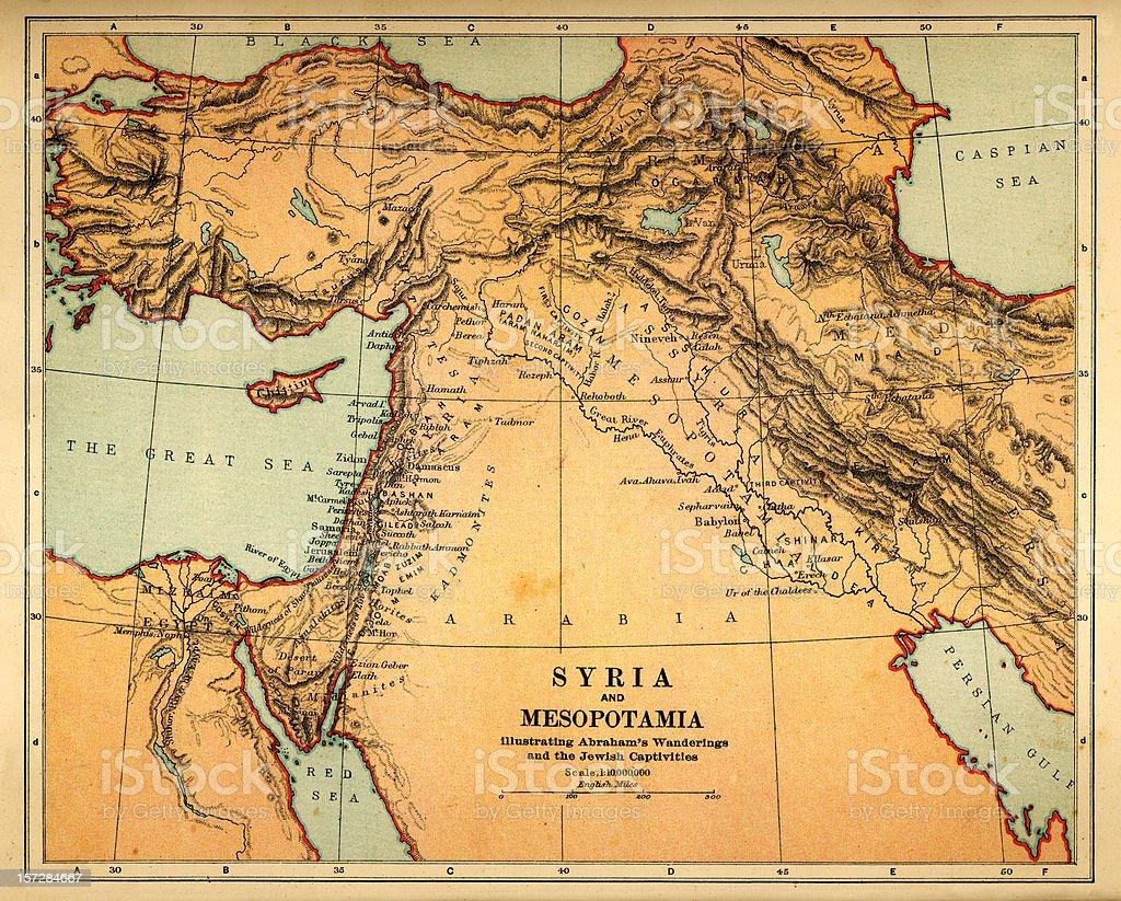 syria and mesopotamia retro map royalty-free stock photo
