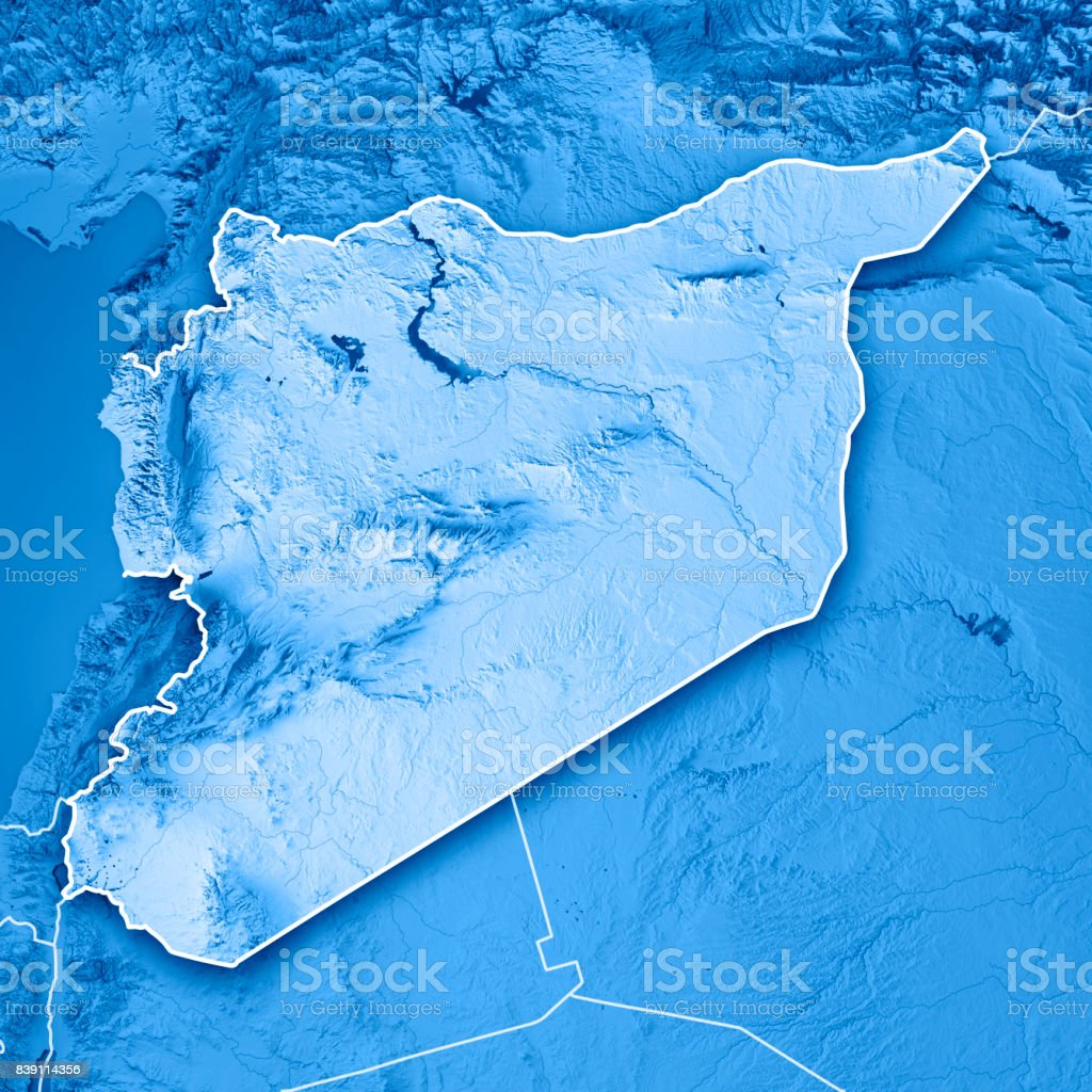 Syria Country 3D Render Topographic Map Blue Border stock photo