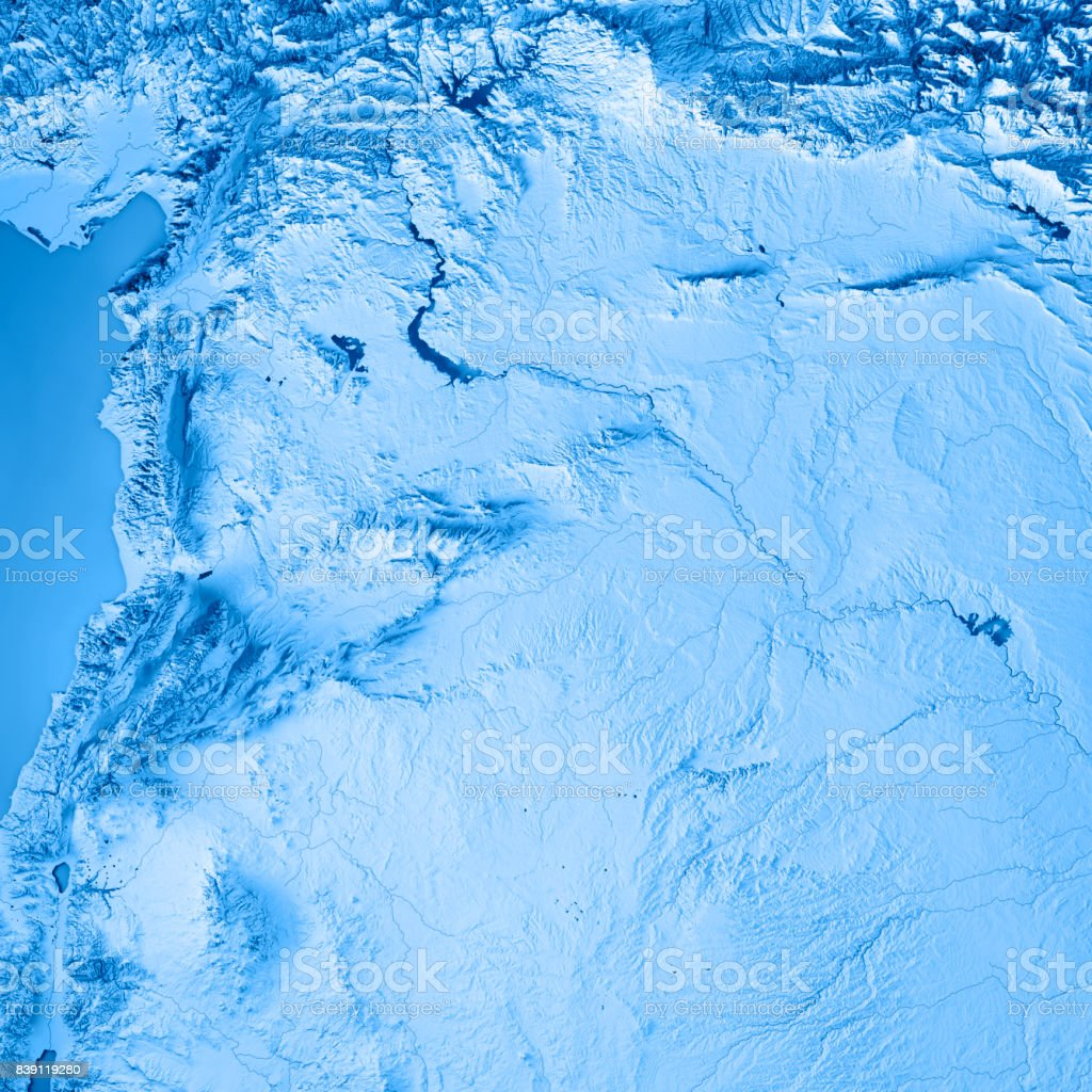 Syria Country 3D Render Topographic Map Blue stock photo
