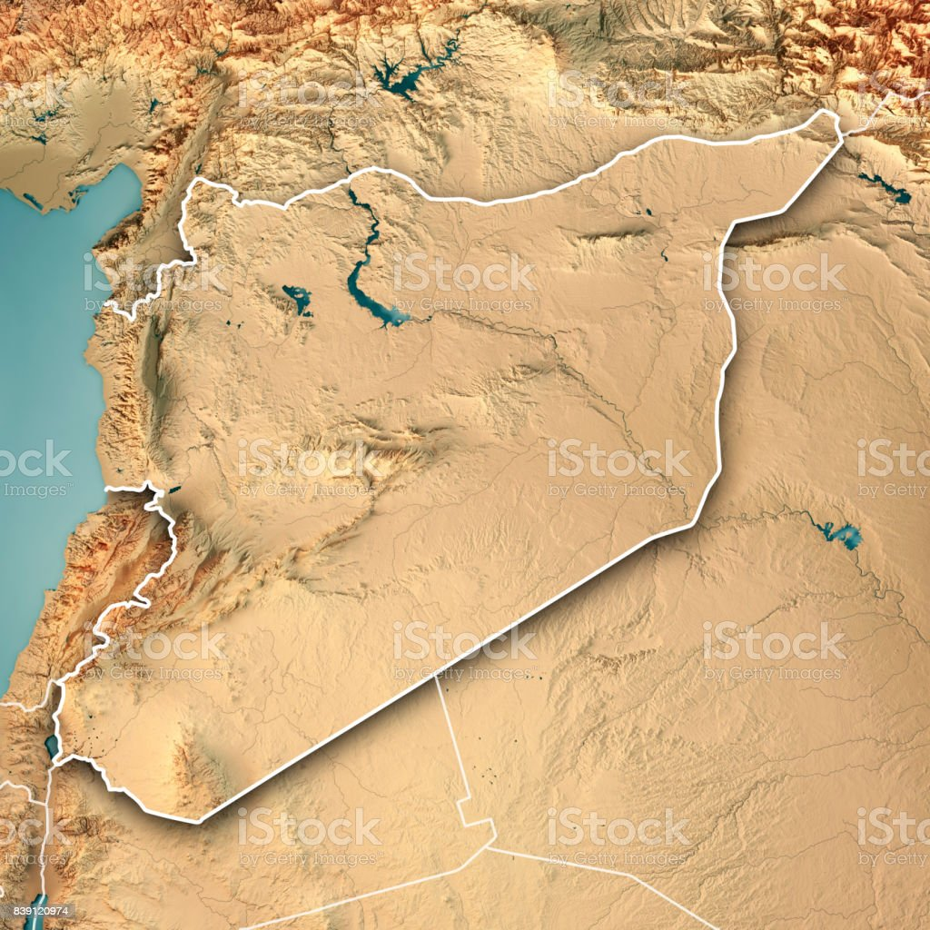Syria Country 3D Render Topographic Map Border stock photo