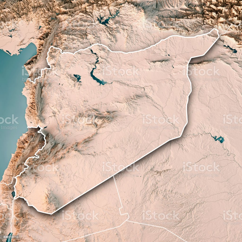 Syria Country 3D Render Topographic Map Neutral Border stock photo