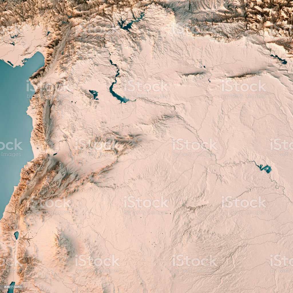 Syria Country 3D Render Topographic Map Neutral stock photo