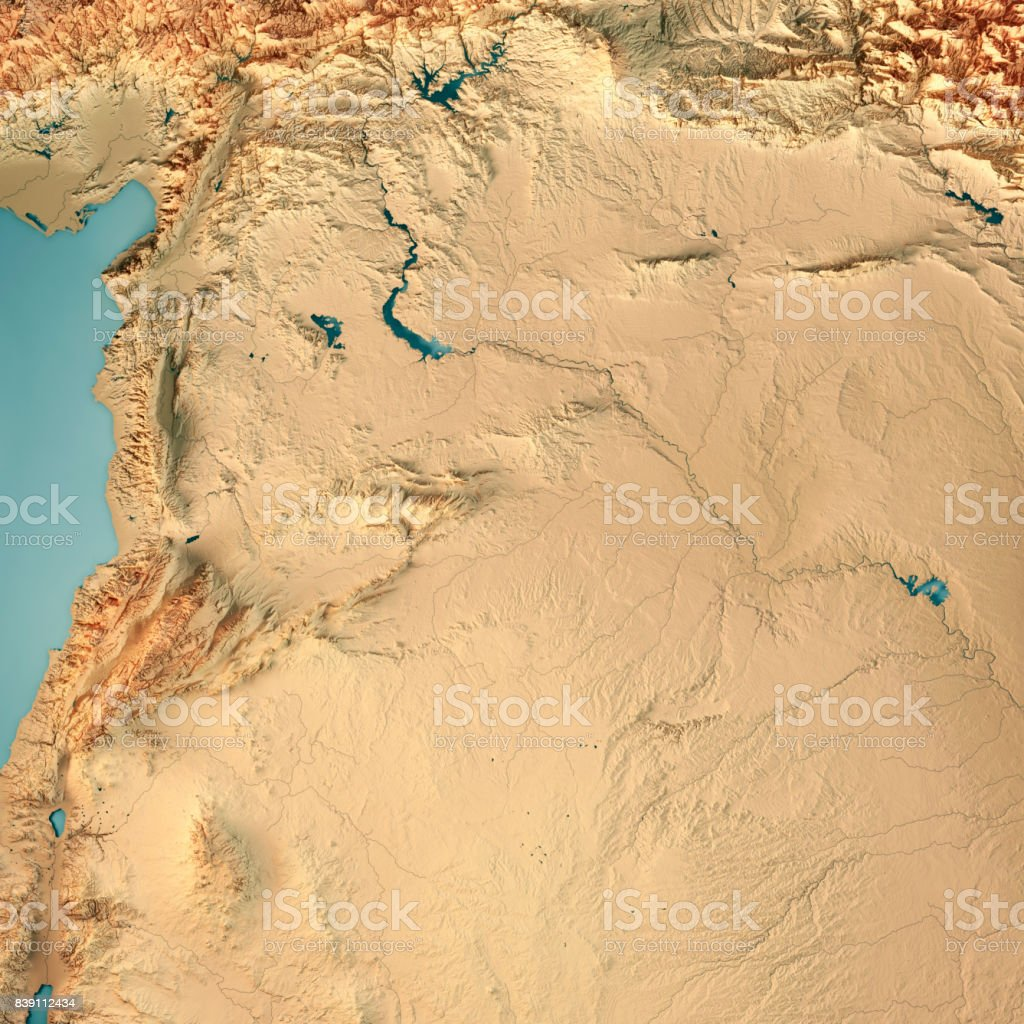 Syria Country 3D Render Topographic Map stock photo
