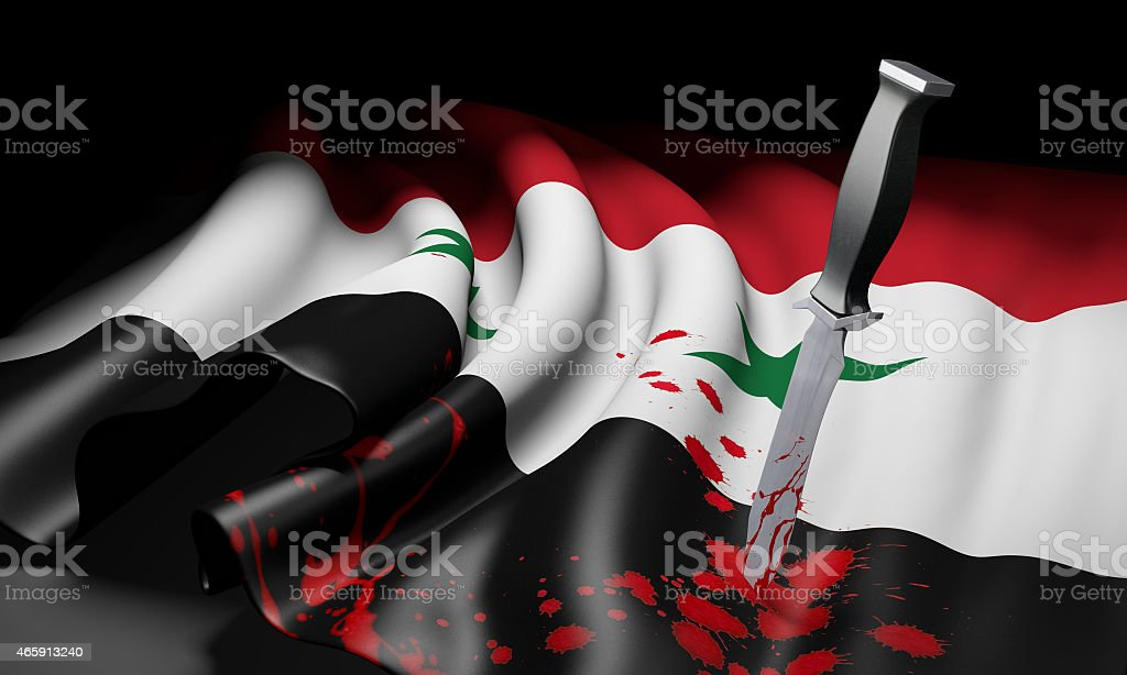 Syria flag and bloody knife, symbolizing jihad threat from ISIS stock photo