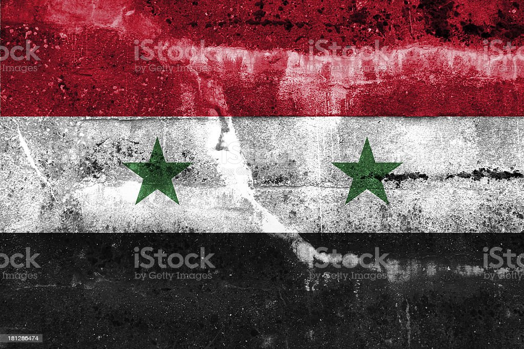 Syria Flag painted on grunge wall royalty-free stock photo