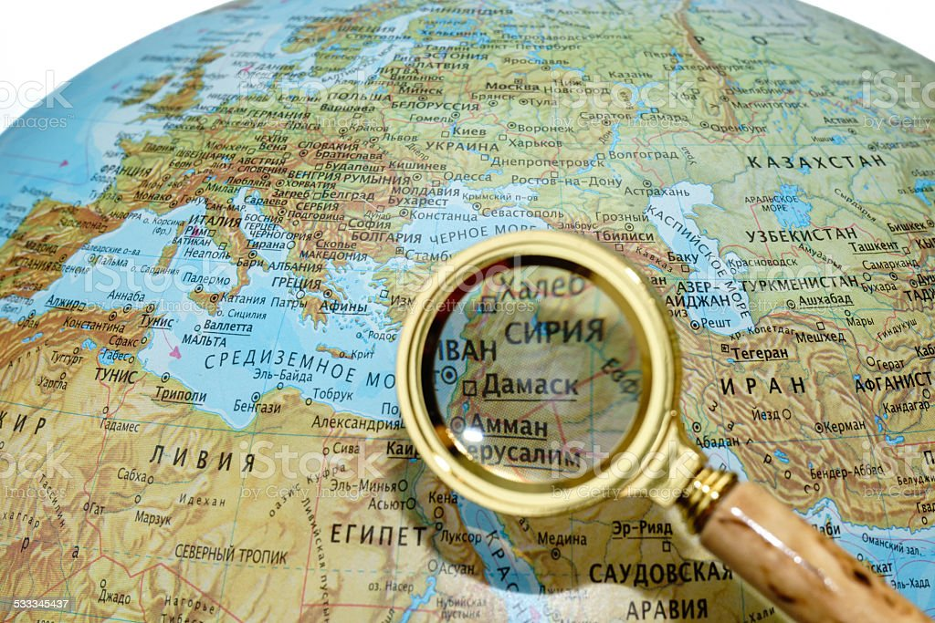 Syria on Russian globe stock photo