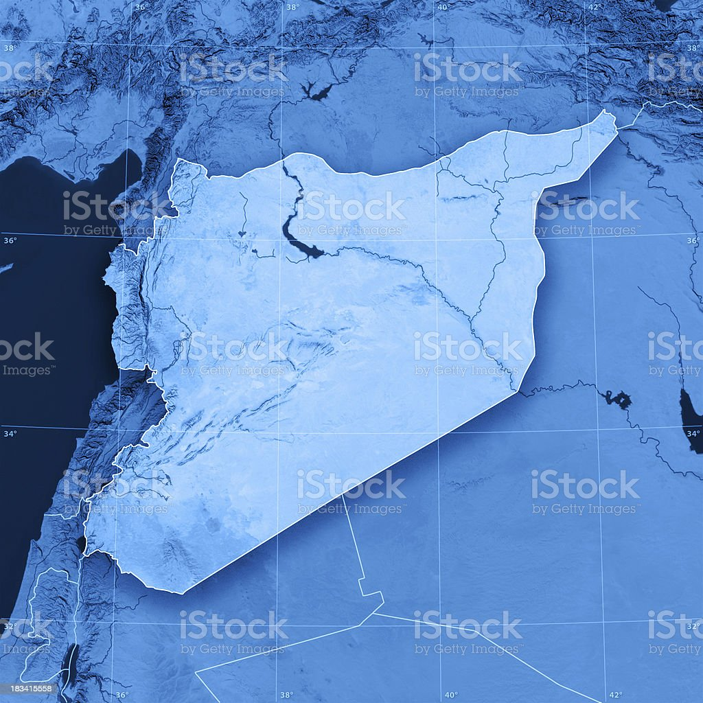 Syria Topographic Map royalty-free stock photo