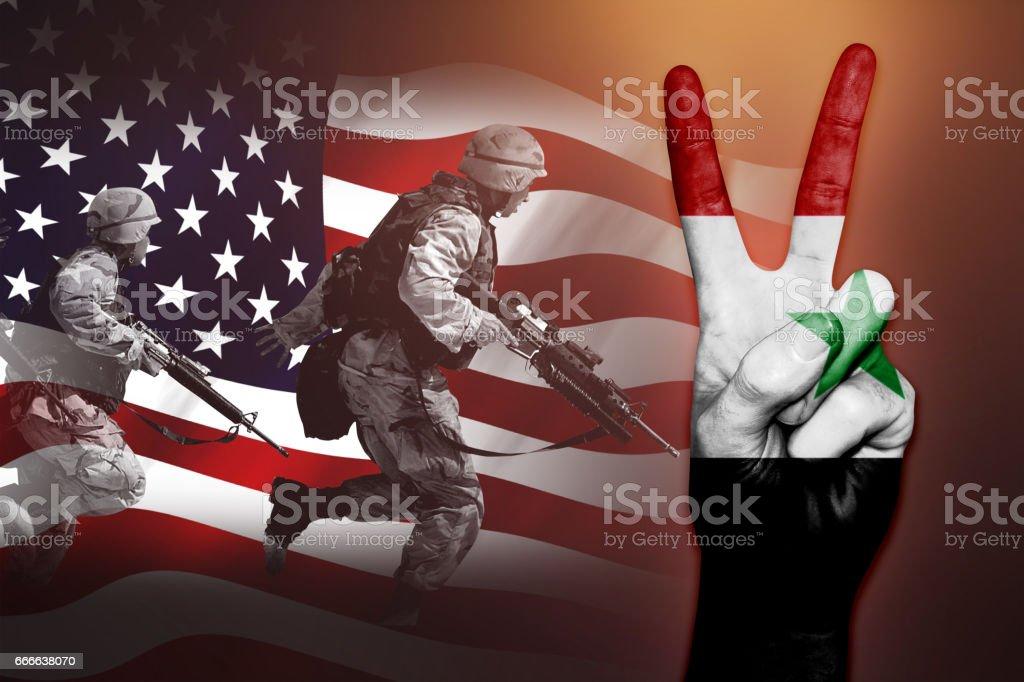 syria war freedem flag usa terror soldier stock photo