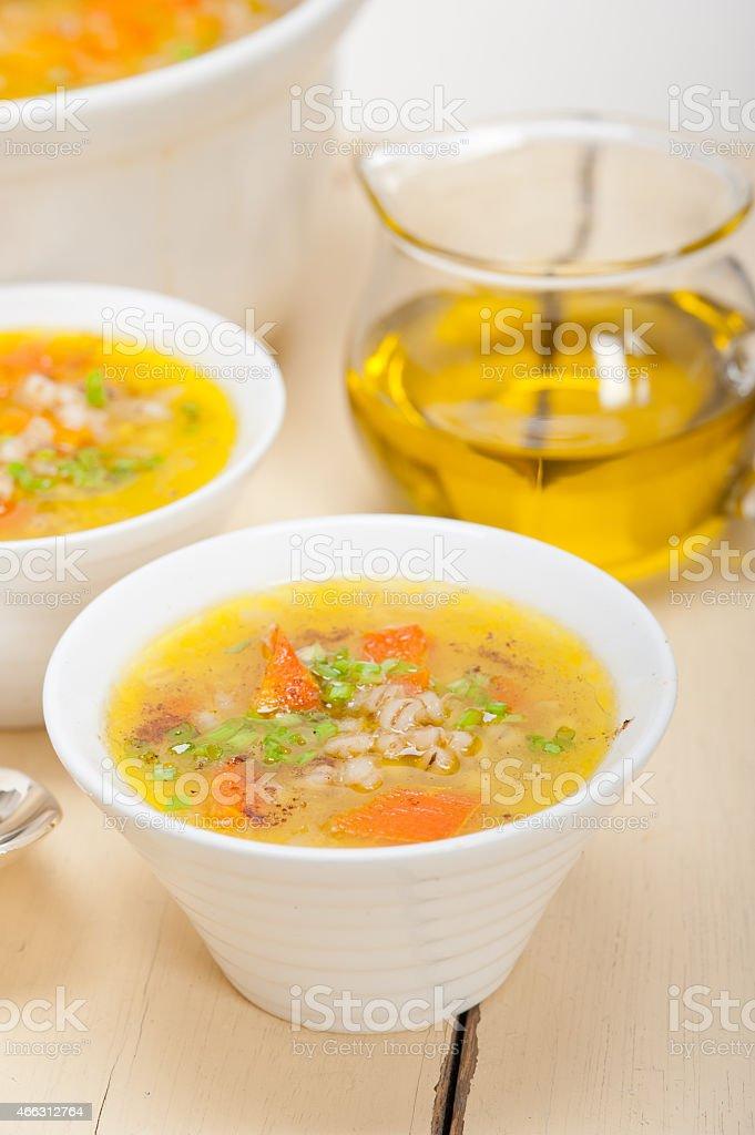 Syrian barley broth soup Aleppo style stock photo