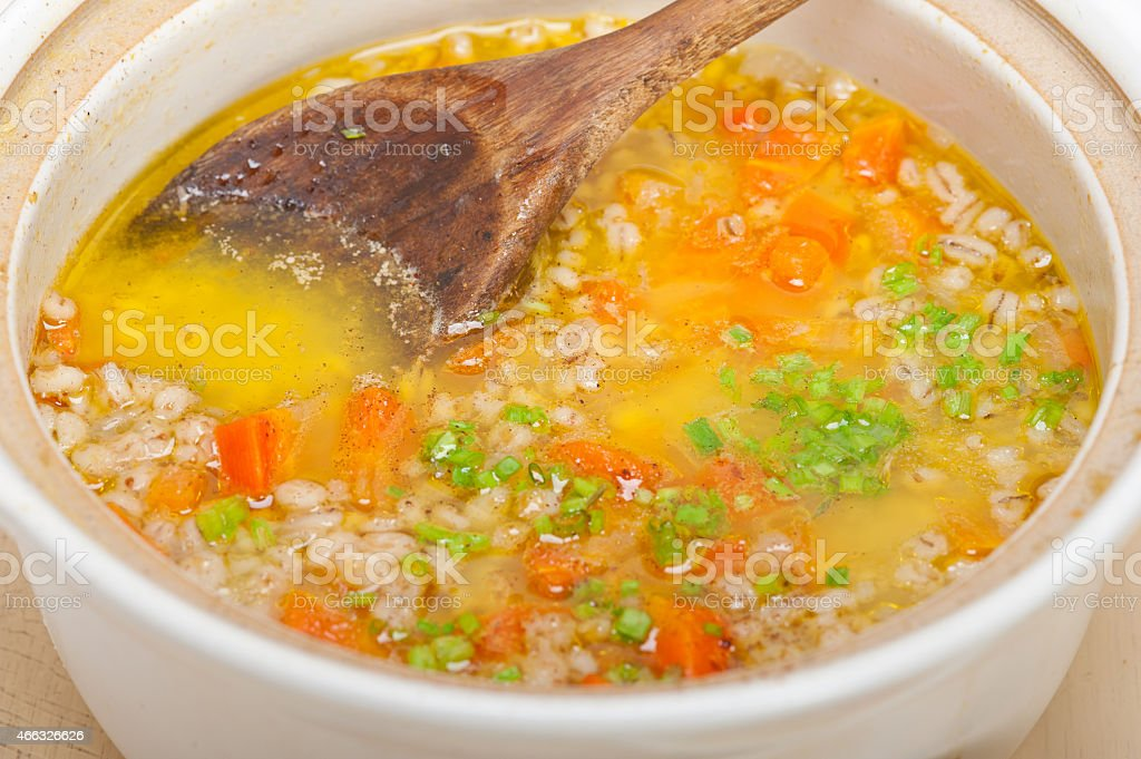 Syrian barley broth soup Aleppo style stock photo