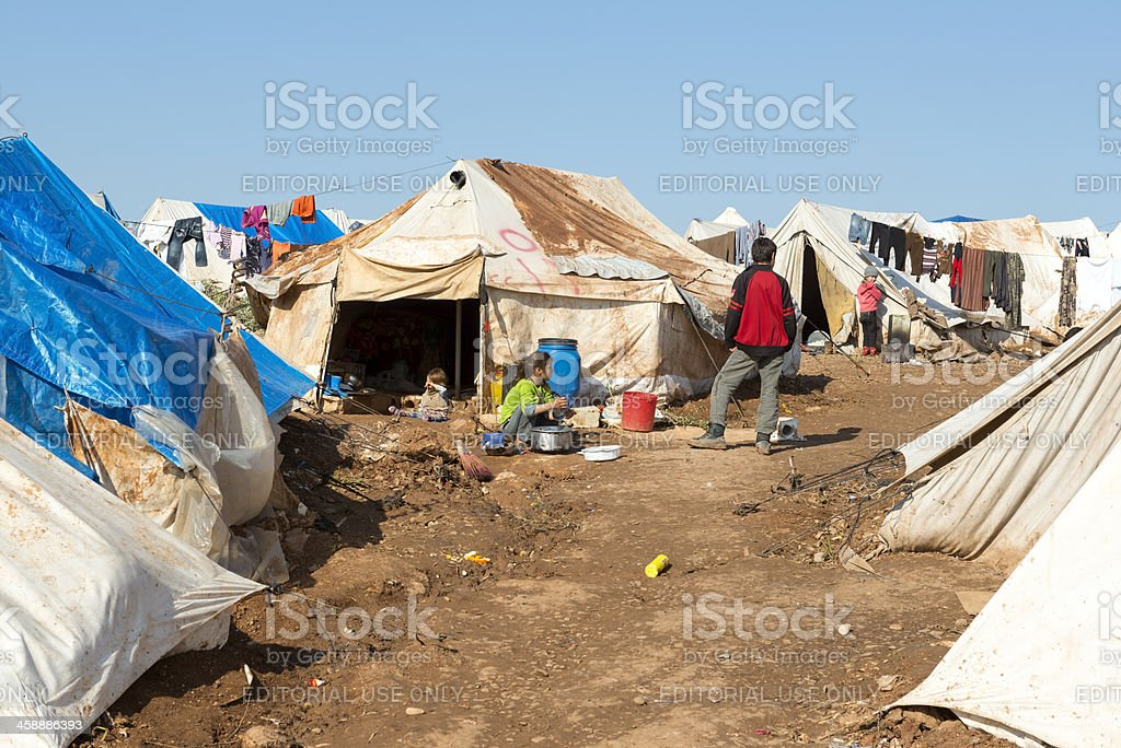 Syrian children in crowded refugee camp stock photo