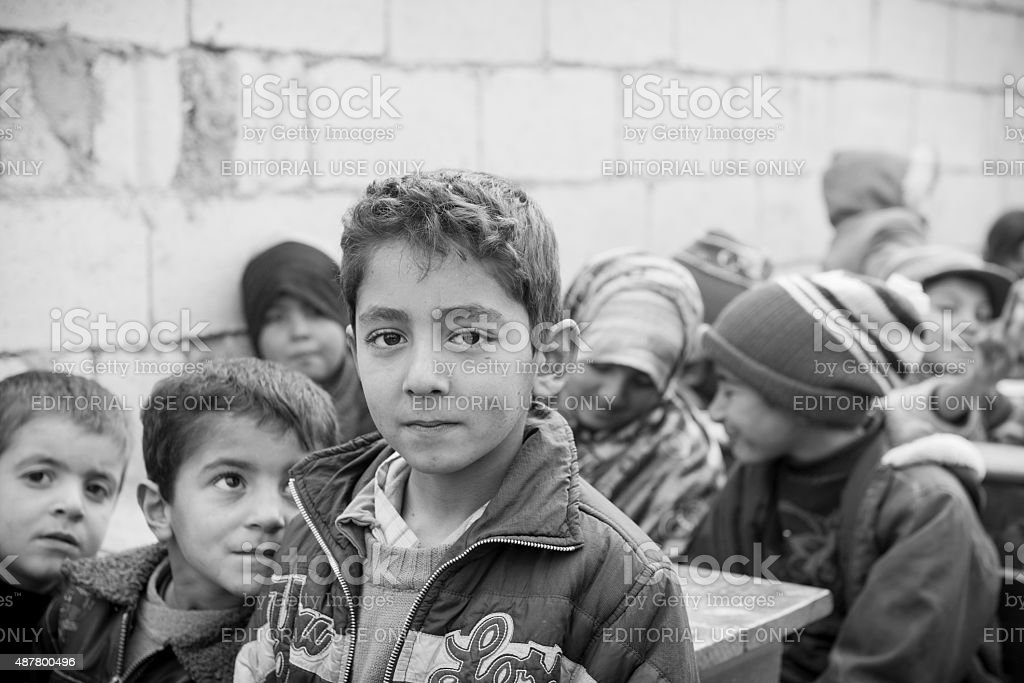 Syrian children in refugee camp stock photo