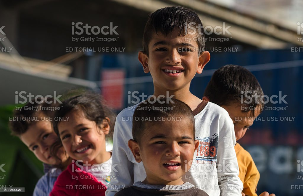 Syrian children play stock photo
