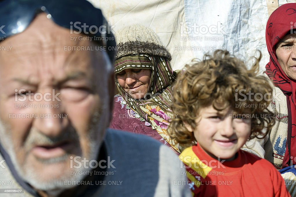 Syrian faces in a refugee camp royalty-free stock photo