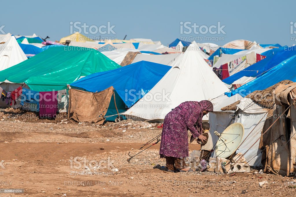 Syrian IDP camp (Atmeh, Syria) stock photo