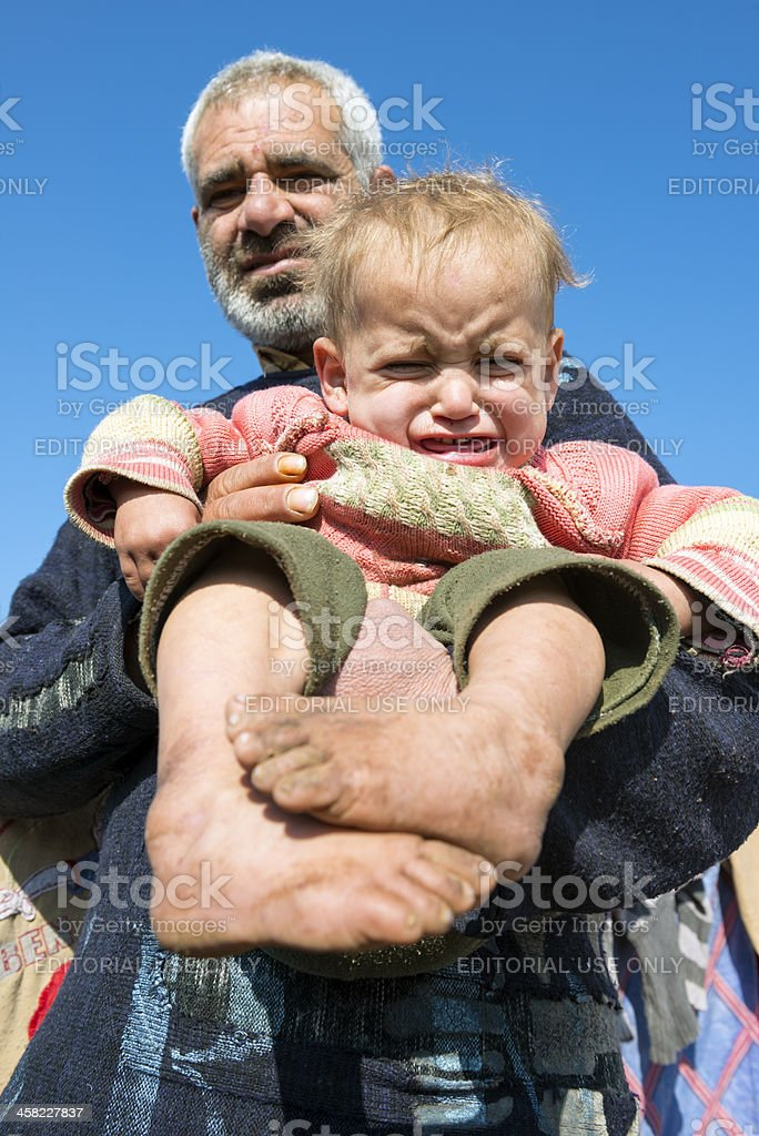 Syrian IDP refugees in Atmeh, Syria stock photo