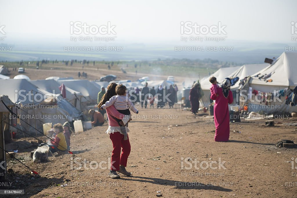 Syrian internally displaced persons stock photo