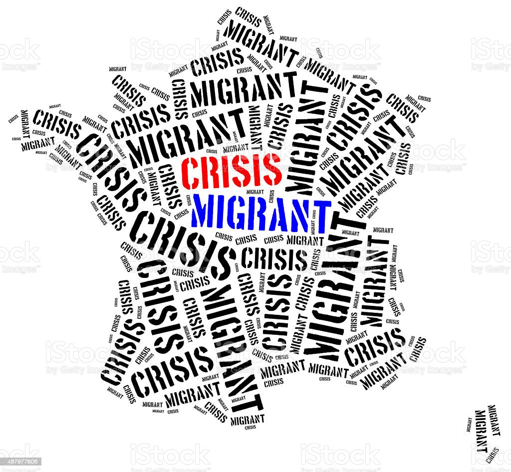 Syrian migrant or refugees crisis in Europe. stock photo
