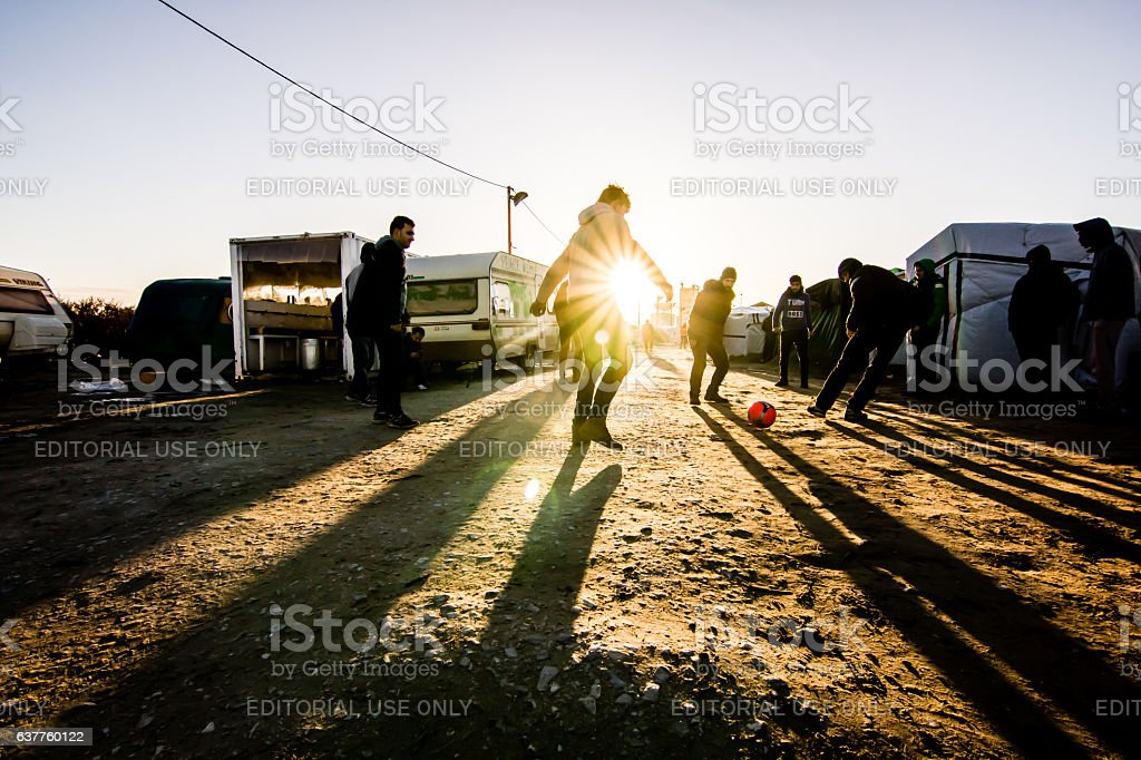 Syrian Migrants Playing Football stock photo