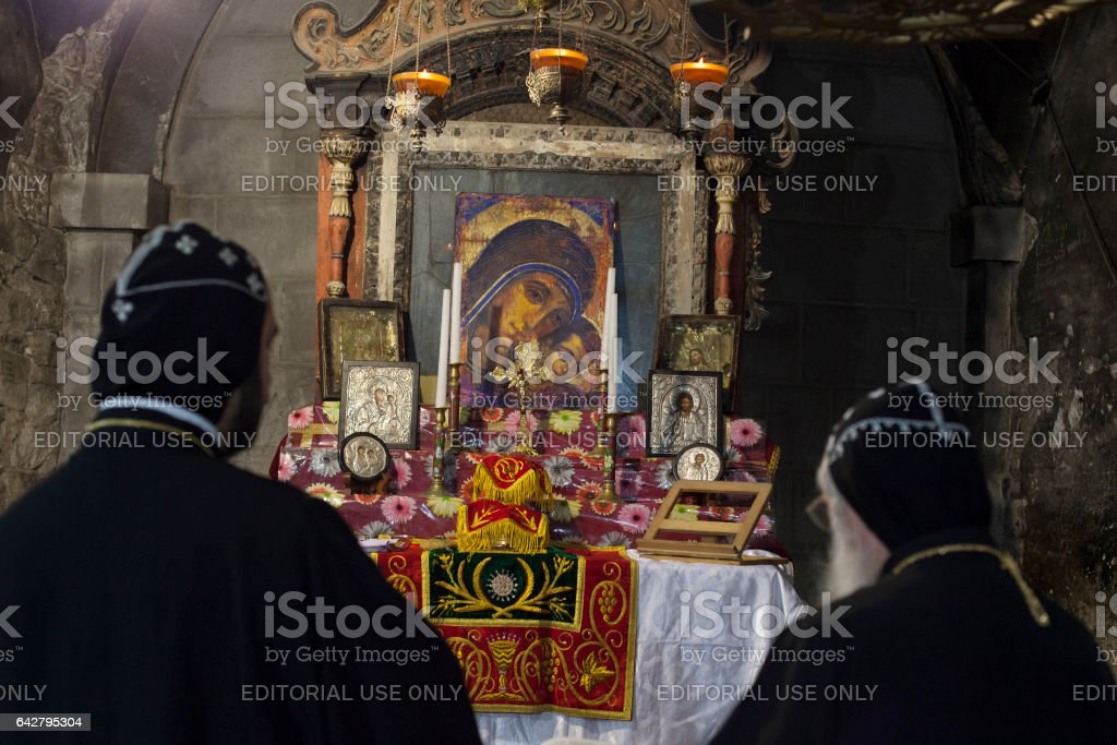 Syrian priest in the Holy Sepulchre Church stock photo