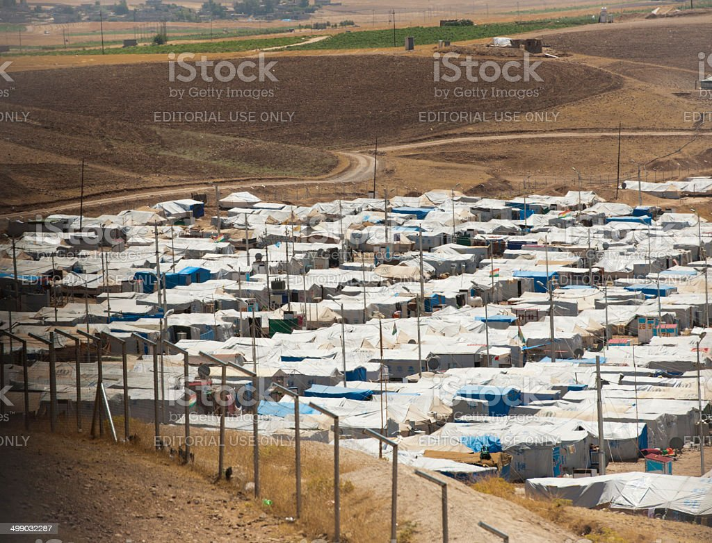 Syrian refugee camp in Iraq stock photo