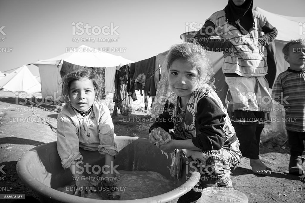 Syrian refugee children at displaced persons camp in Atmeh, Syria stock photo