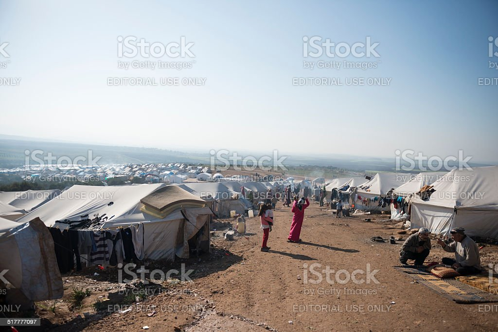 Syrian refugee crisis - tents and people stock photo