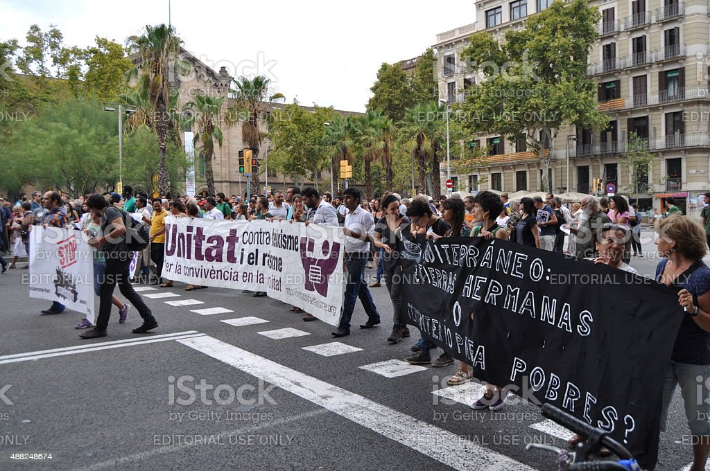 Syrian Refugees Crisis - Pro-refugee demonstration in Barcelona, Spain, September2015 stock photo