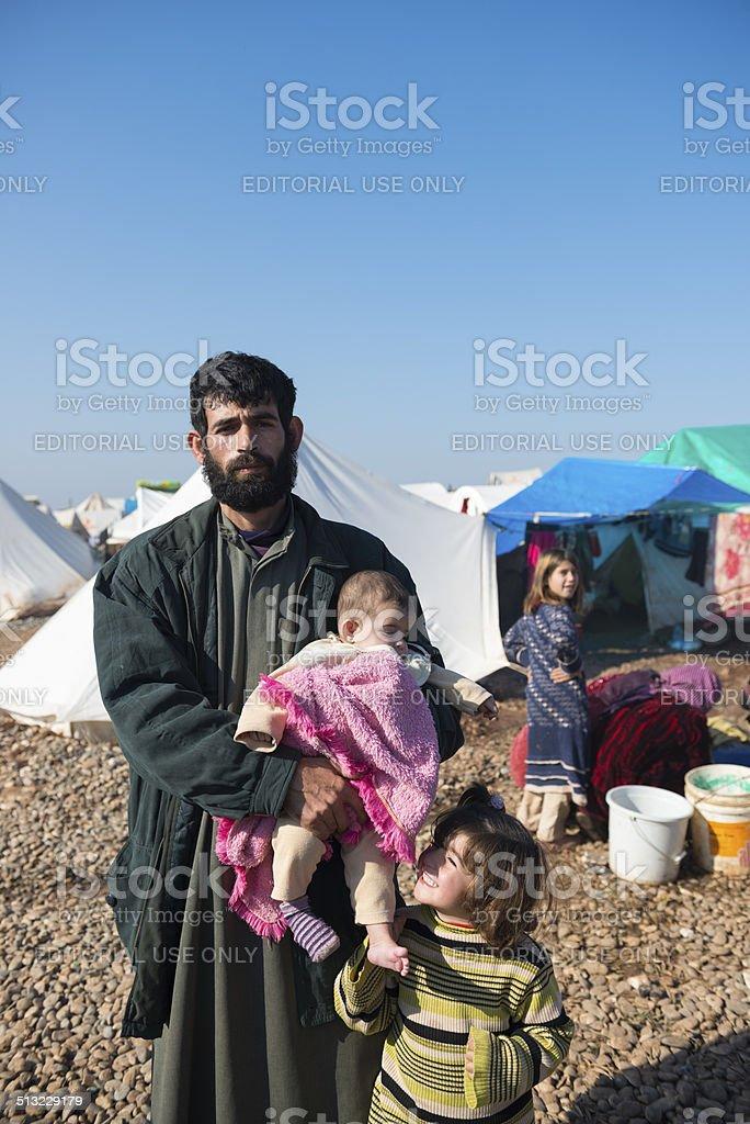 Syrian refugees inside Syria stock photo