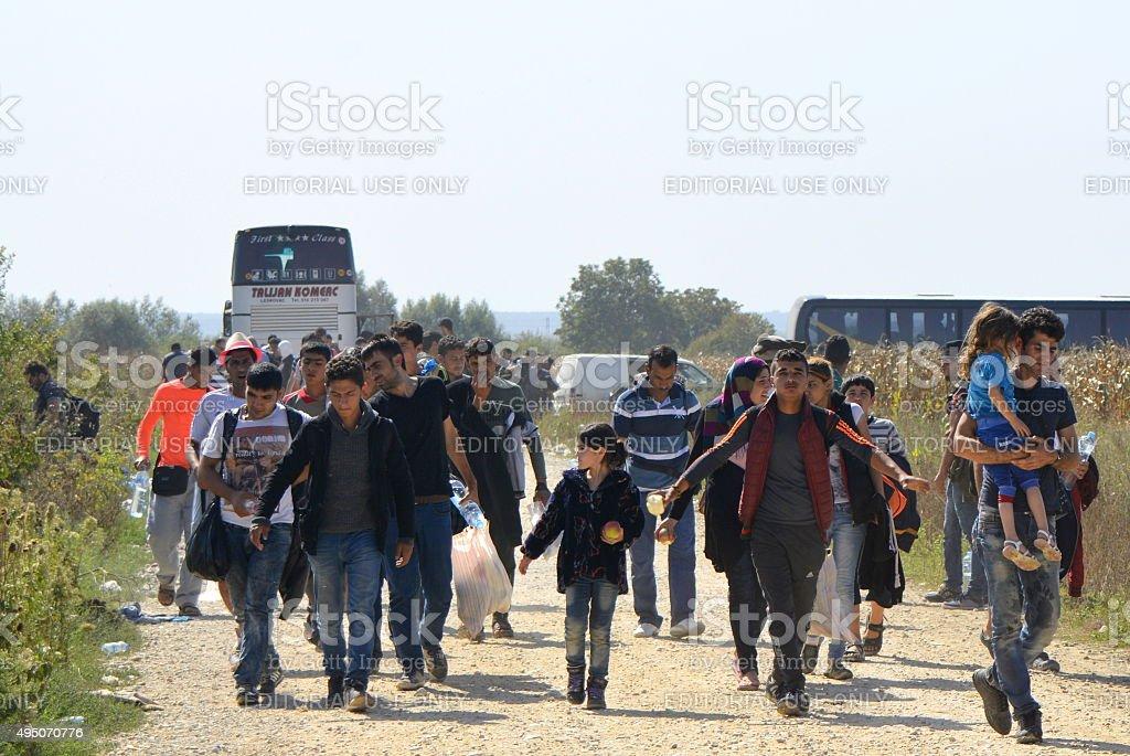 Syrian refugees on their way to EU, Serbia-Croatia border stock photo