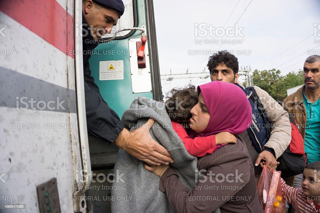 Syrian refugees stock photo