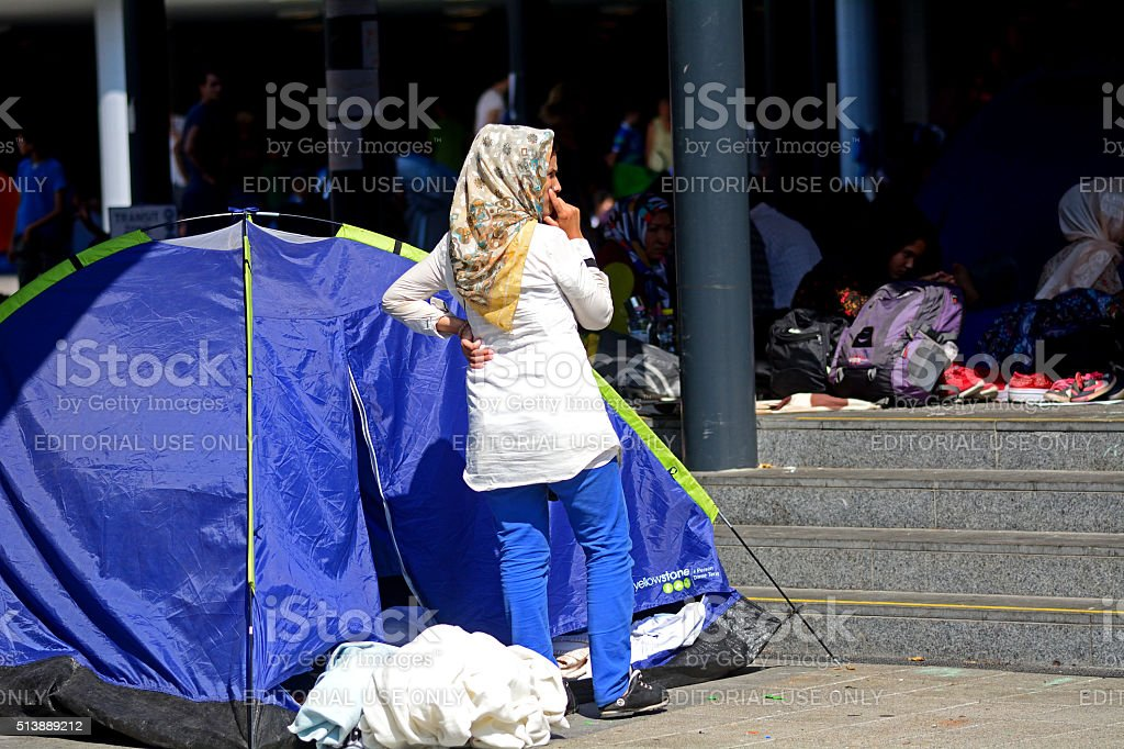 Syrian refugees stock photo
