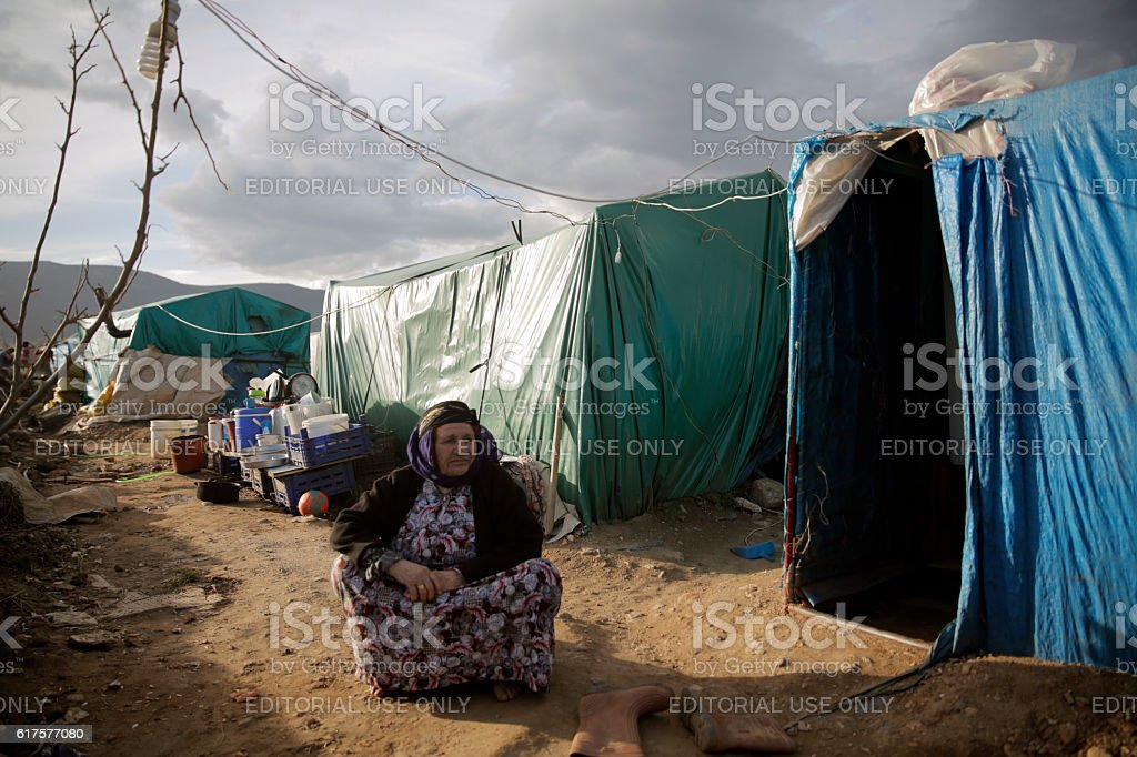 Syrian woman in refugee camp stock photo