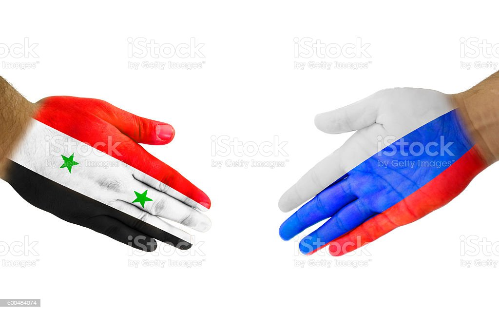 Syria-Russia Handshake stock photo