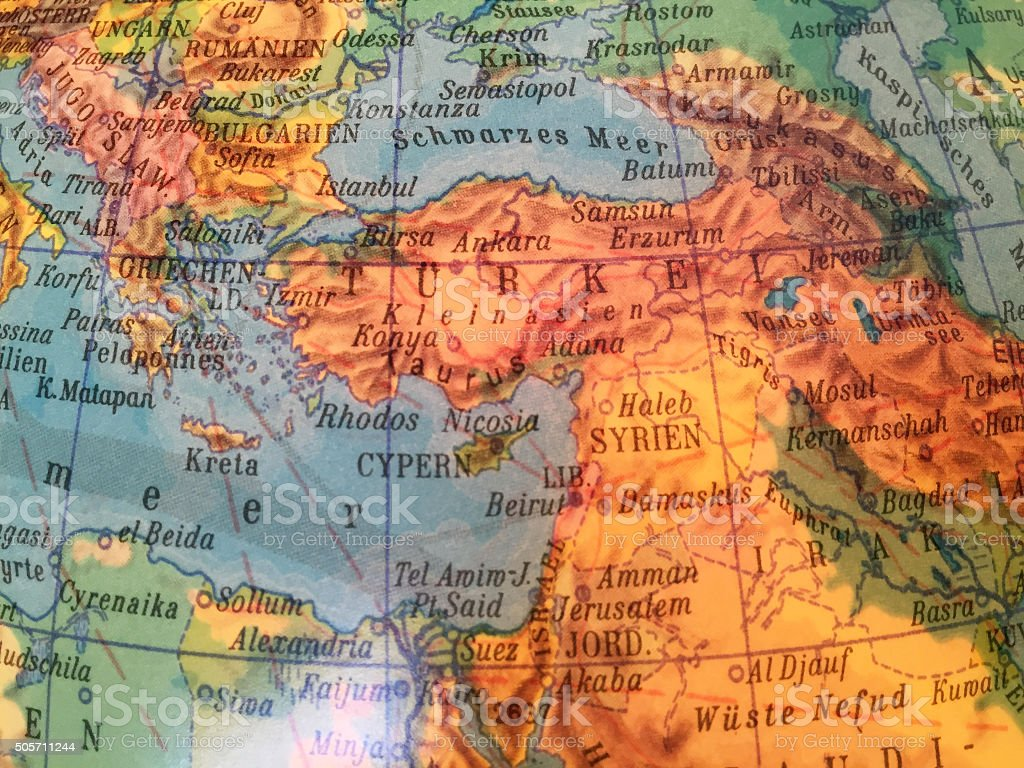 Syrien Landkarte - Alter Globus / Weltkarte stock photo