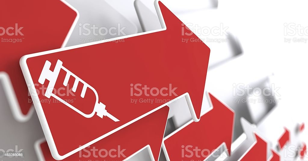 Syringe Icon on Red Arrow . royalty-free stock photo
