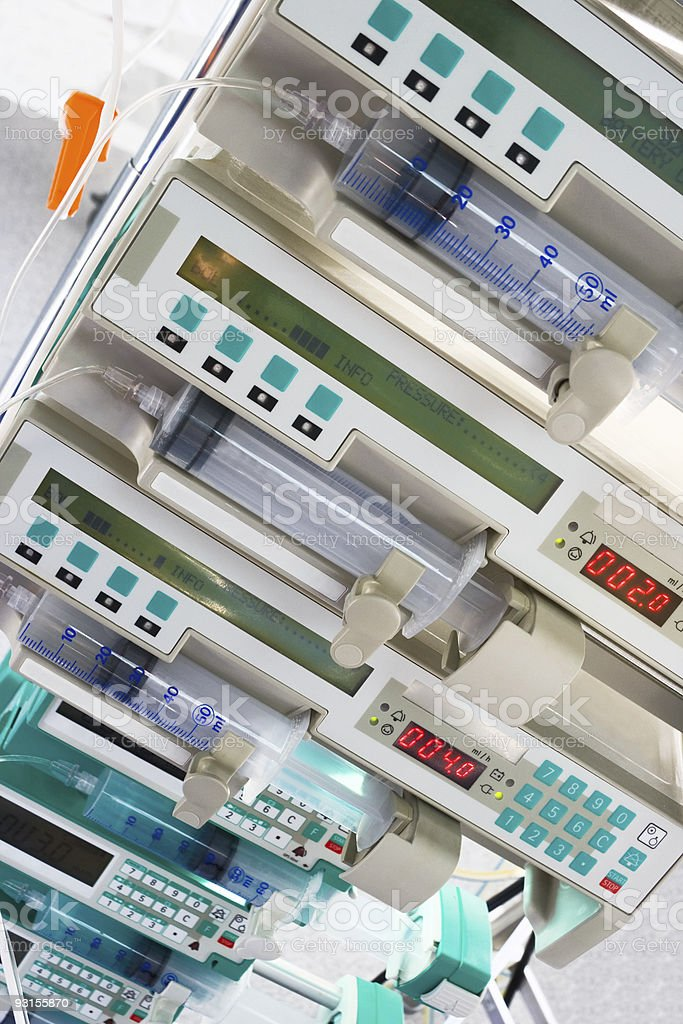 syringe pumps in intensive care unit royalty-free stock photo