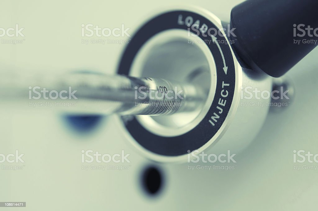 syringe ready to injection into liquid chromatograph royalty-free stock photo