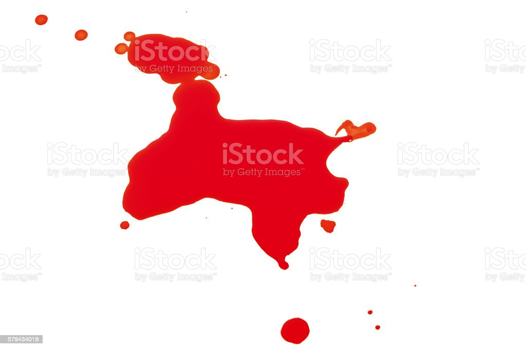 Syringe Squirting Red Blood onto White Background stock photo
