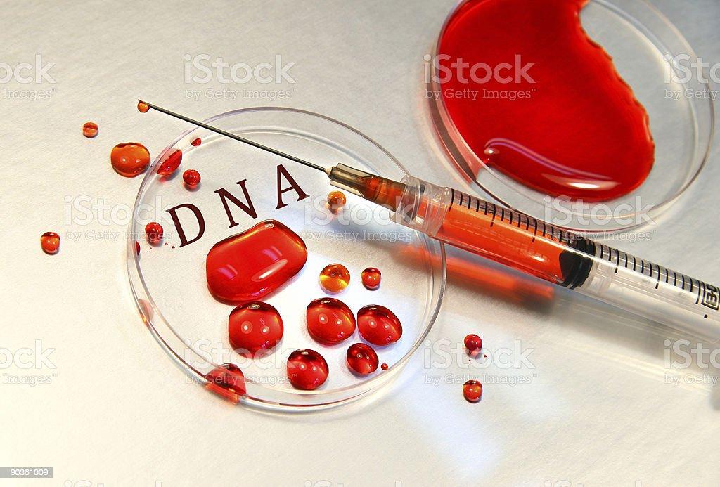 Syringe with blood stock photo