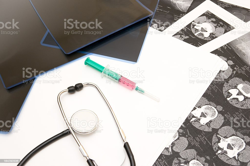Syringe With Pain Medication stock photo