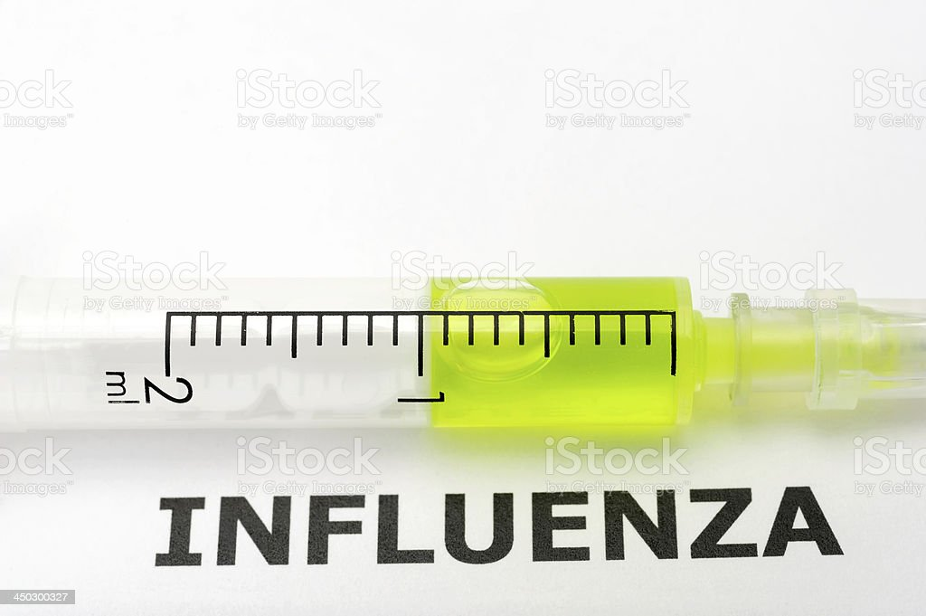 Syringe with Word Influenza royalty-free stock photo