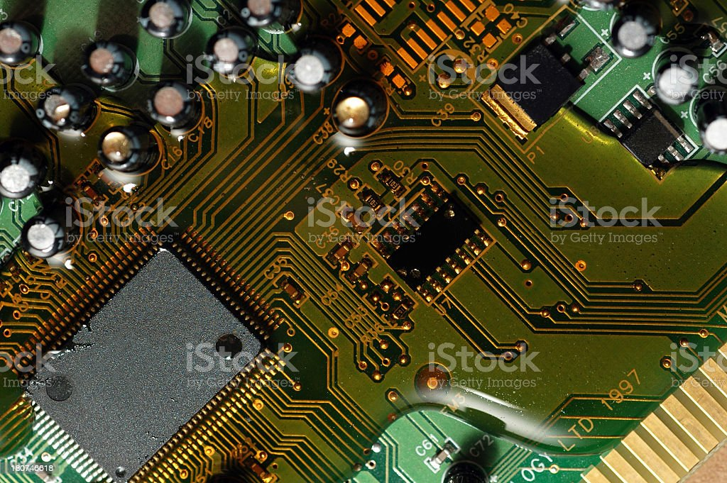 Syrup on the Circuit Board stock photo
