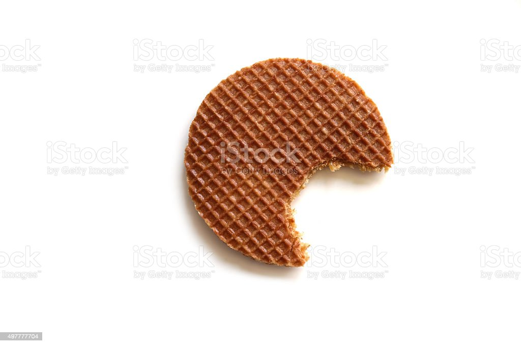 Syrup waffle (stroopwafel in Dutch) isolated on white background stock photo