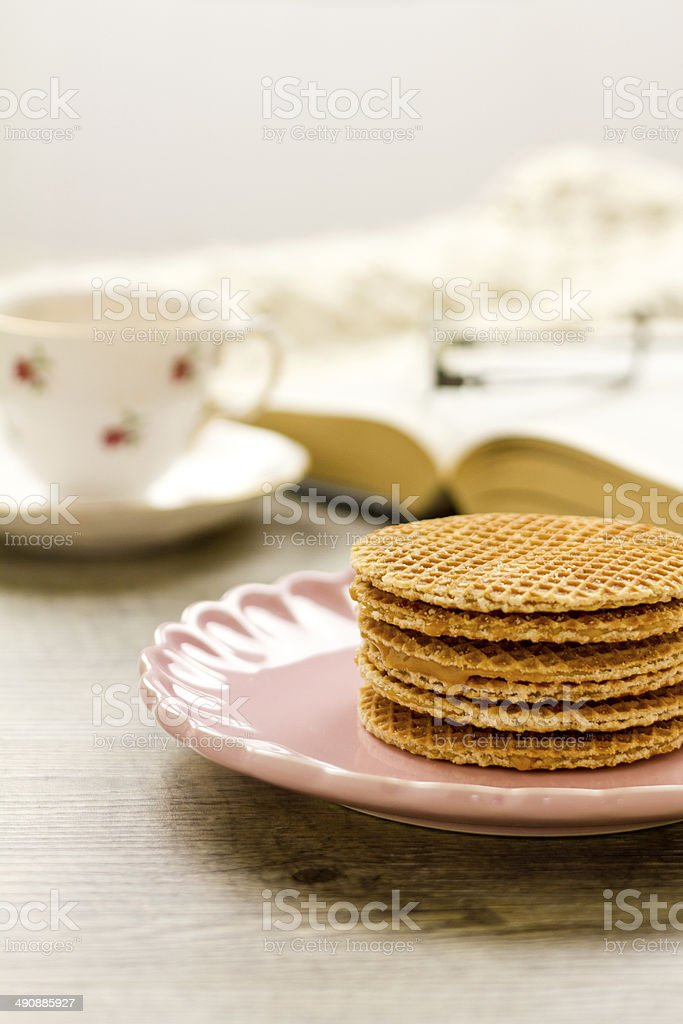 Syrup Waffle stack royalty-free stock photo