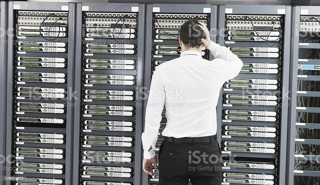 system fail situation in network server room royalty-free stock photo