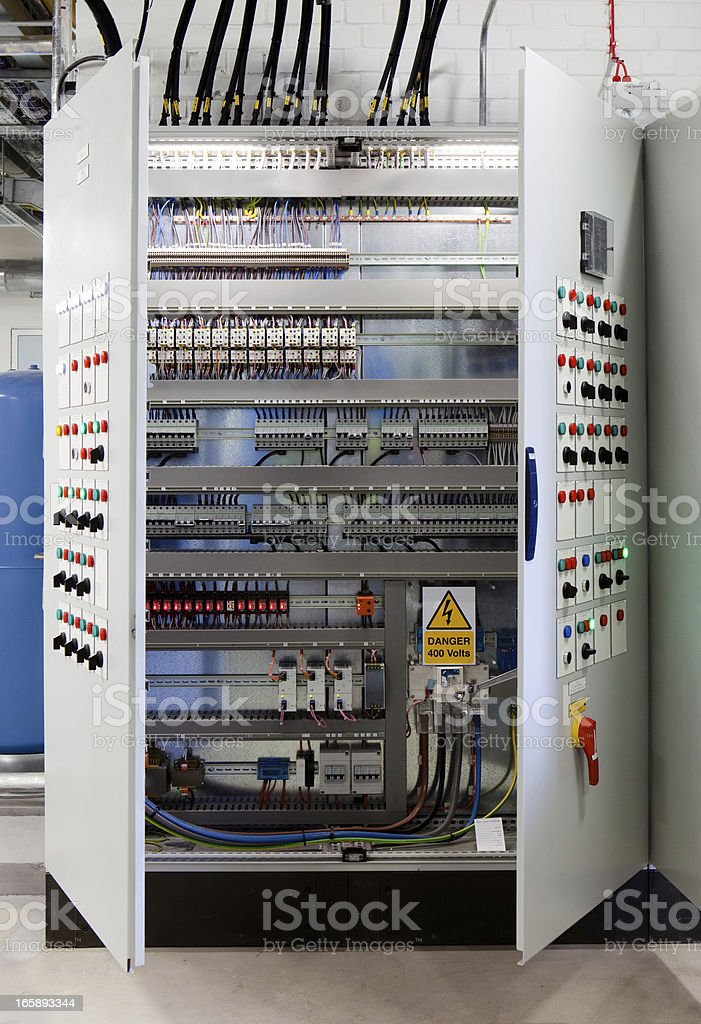 Systems control cabinet stock photo