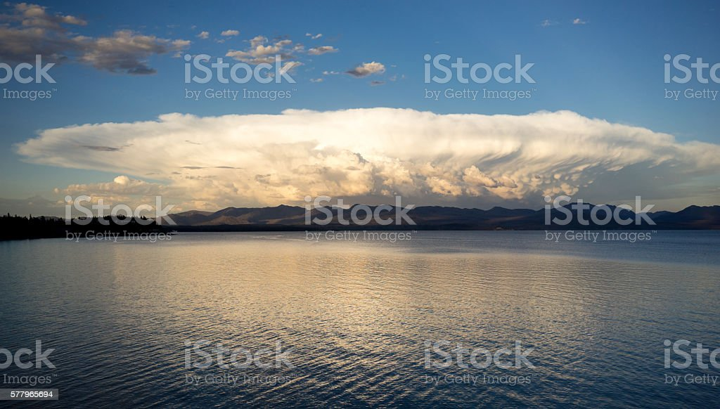 Sytorm Clouds Brew Over Yellowstone Lake Absaroka Mountains stock photo