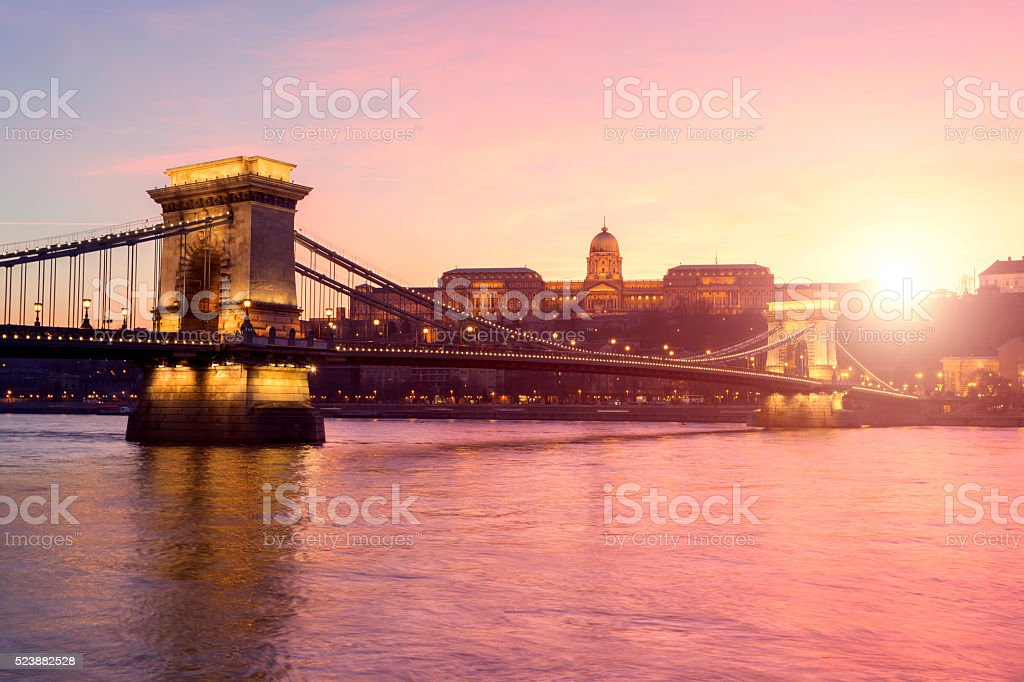 Széchenyi Chain Bridge in Budapest at sunset stock photo
