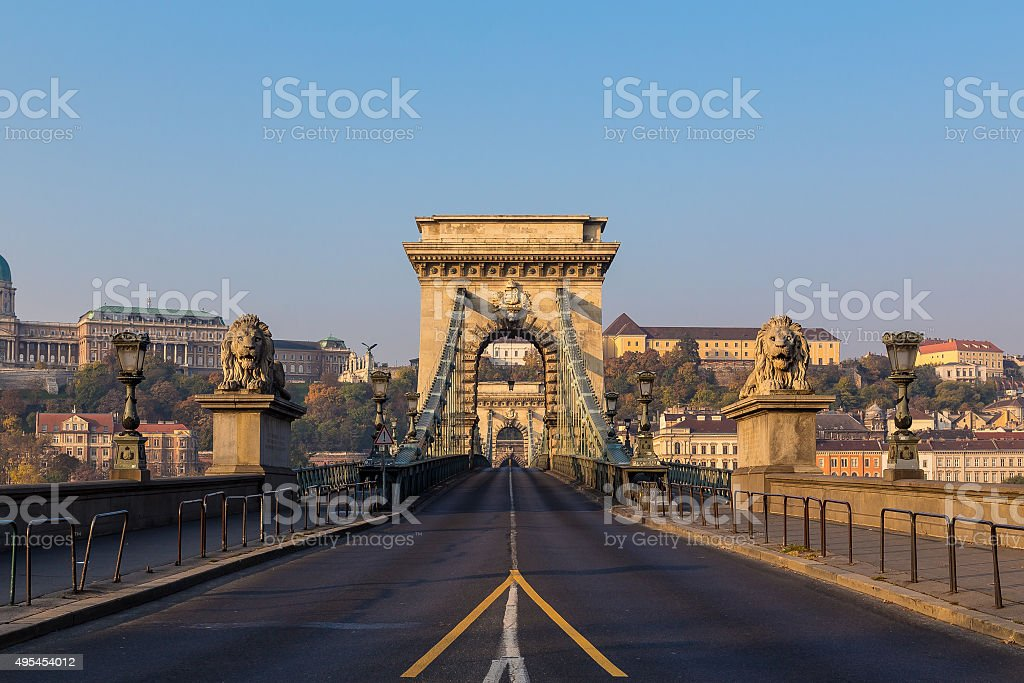 Széchenyi Chain Bridge in Budapest during the Day stock photo